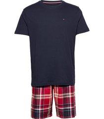 cn ss short woven set check pyjama blauw tommy hilfiger