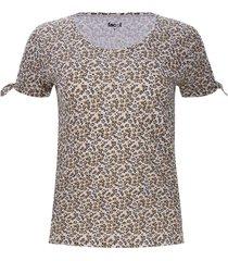 camiseta mujer print flores cafes color amarillo, talla 6