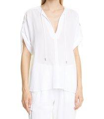 women's atm anthony thomas melillo roll tab gauze top, size x-small - white
