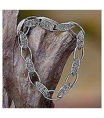 sterling silver link bracelet, 'balinese walnut' (indonesia)