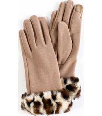women's faux fur leopard cuff jersey touchscreen glove