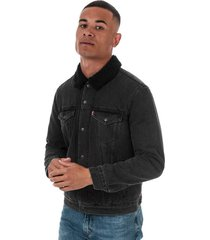 mens embossed logo sherpa trucker jacket