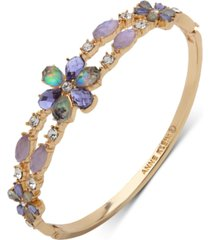 anne klein gold-tone stone & crystal bangle bracelet