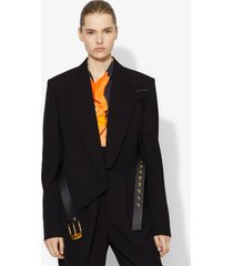 proenza schouler cropped belted blazer black 0