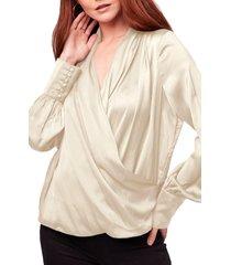 women's b.o.g. collective mon cheri faux wrap top, size x-small - ivory