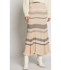 proenza schouler zig zag stripe knit skirt pale blush multi/white l