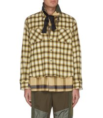 flannel check bow tie double shirt