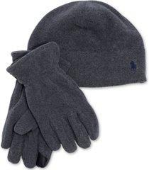 polo ralph lauren men's polartec fleece hat & gloves set