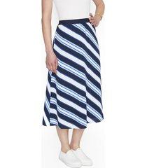 falda larga azul marino listada lorenzo di pontti