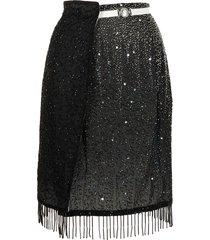 marine serre nautilus beaded wrap skirt - black