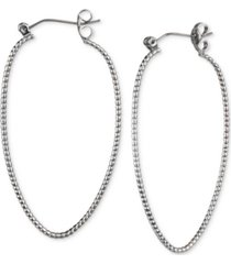 charter club silver-tone textured oval hoop earrings, created for macy's