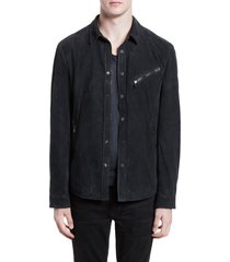 men's john varvatos suede shirt jacket, size 50 eu - blue