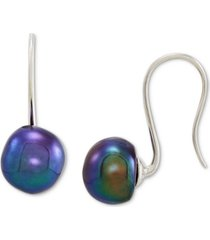 baroque peacock cultured freshwater pearl (9-10mm) drop earrings in sterling silver