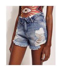 short jeans feminino hype beachwear cintura alta destroyed com cós virado azul médio