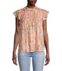 nanette nanette lepore women's pleated print top - orange multicolor - size l