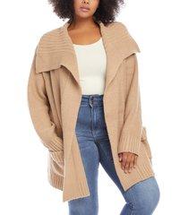 plus size women's karen kane shawl collar cardigan, size 0x - beige