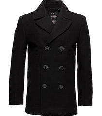 rookie merchant line peacoat wollen jas lange jas zwart superdry