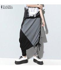 zanzea mujeres hip-pop del bloque del color sweatpants pantalones pantalones harem pantalones -gris