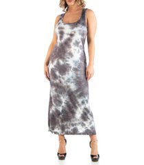 24seven comfort apparel women's plus size sleeveless tie dye racerback maxi dress