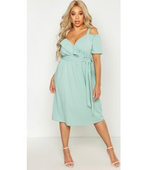 plus plunge ruffle belt midi dress, sage