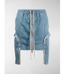 rick owens drkshdw zipped drawstring-waist denim skirt