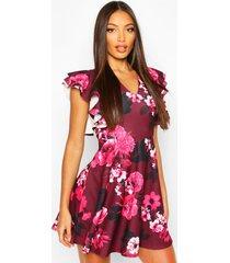 floral flutter sleeve skater dress, pink