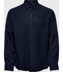 camisa only & sons onsatlas life ls dyed tencel shirt azul - calce regular
