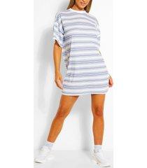 gestreepte oversized t-shirt-jurk, blauw