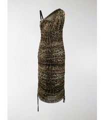 dolce & gabbana leopard print ruched dress