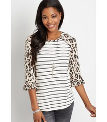 maurices womens 24/7 leopard ruffle trim sleeve baseball tee beige