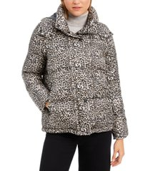bcbgeneration leopard-print hooded puffer coat