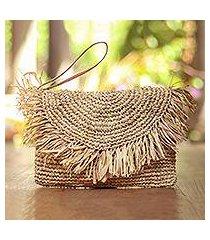 leather accented natural fiber wristlet, 'natural fringe' (indonesia)