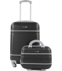 varsity 2-piece carry-on hardside cosmetic luggage set