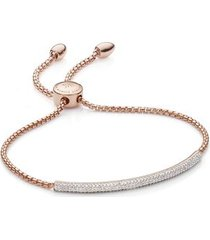 stellar white diamond mini bar bracelet, rose gold vermeil on silver