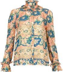 blouse met print abbije  roze