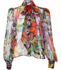 sheer floral pussy bow blouse