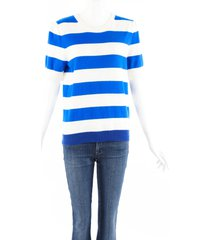 chinti and parker jeanne blue striped cashmere knit sweater blue/white sz: l