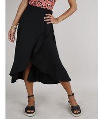 saia feminina midi canelada com babado preta