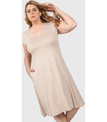 vestido beige minari bolsillos plus size