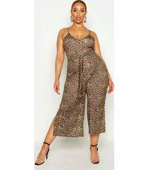 plus leopard print self belt culotte jumpsuit, brown