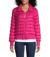woolrich women's mercer puffer bomber jacket - berry red - size s
