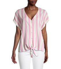 bobeau women's striped short-sleeve top - light pink - size m