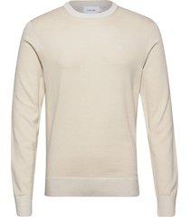 cotton silk c-neck sweater stickad tröja m. rund krage creme calvin klein