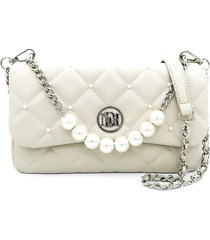 badgley mischka women's quilted faux leather & faux pearl shoulder bag - black