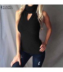 zanzea mujeres sin mangas cuello alto delgado elástico ojo de la cerradura blusa delgada camisa tank tops tee -negro