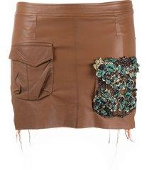 almaz beaded pocket mini skirt - brown