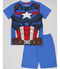 pijama infantil carnaval capitão américa manga curta azul