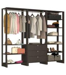 guarda roupa closet 3 peças 2 cabideiros preto