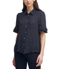 tommy hilfiger dot-print ruffled-cuff blouse