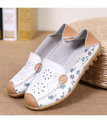 scarpe basse traforate con stampa floreale slip-on respirabili casual colorate